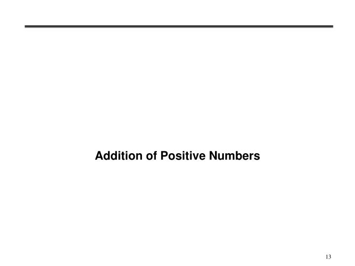 Addition of Positive Numbers