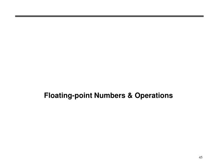 Floating-point Numbers & Operations