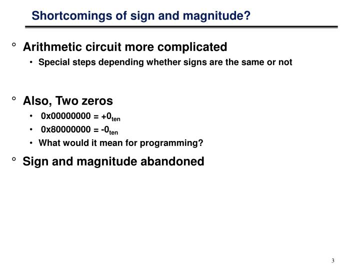 Shortcomings of sign and magnitude