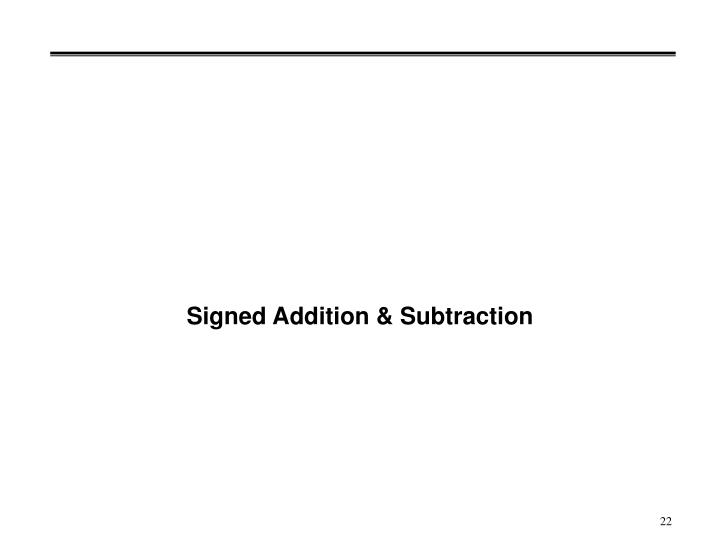 Signed Addition & Subtraction