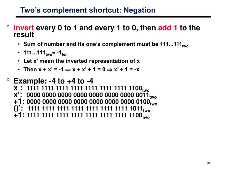 Two's complement shortcut: Negation