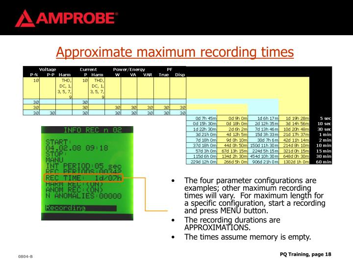 Approximate maximum recording times