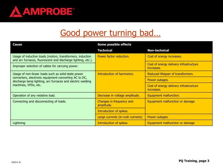 Good power turning bad…