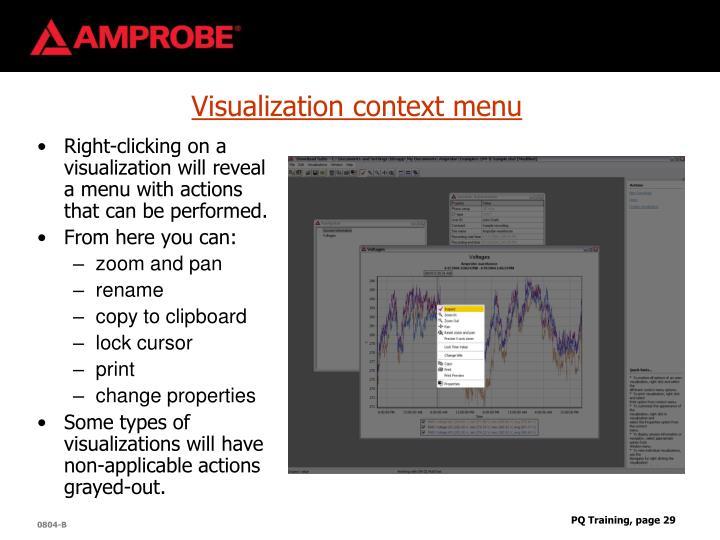 Visualization context menu