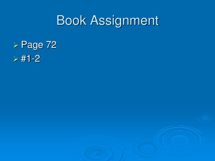 Book Assignment