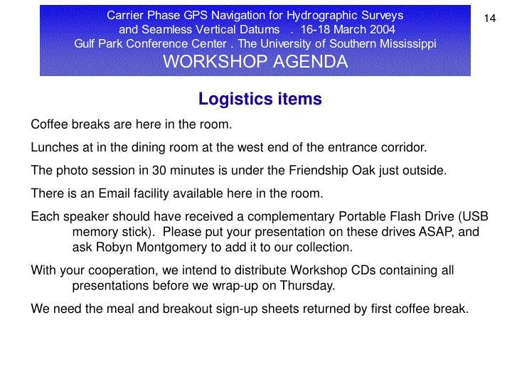 Logistics items