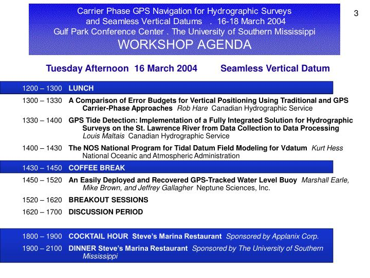 Tuesday Afternoon  16 March 2004         Seamless Vertical Datum