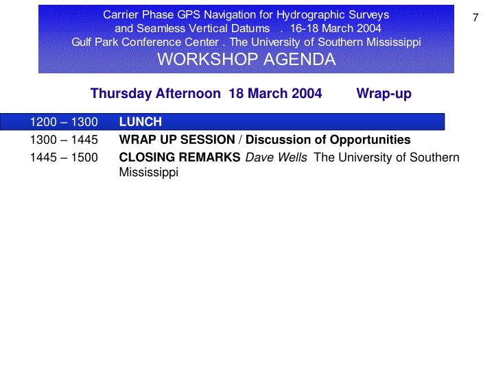 Thursday Afternoon  18 March 2004         Wrap-up