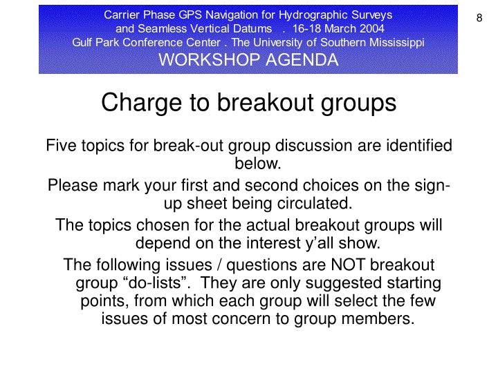 Charge to breakout groups