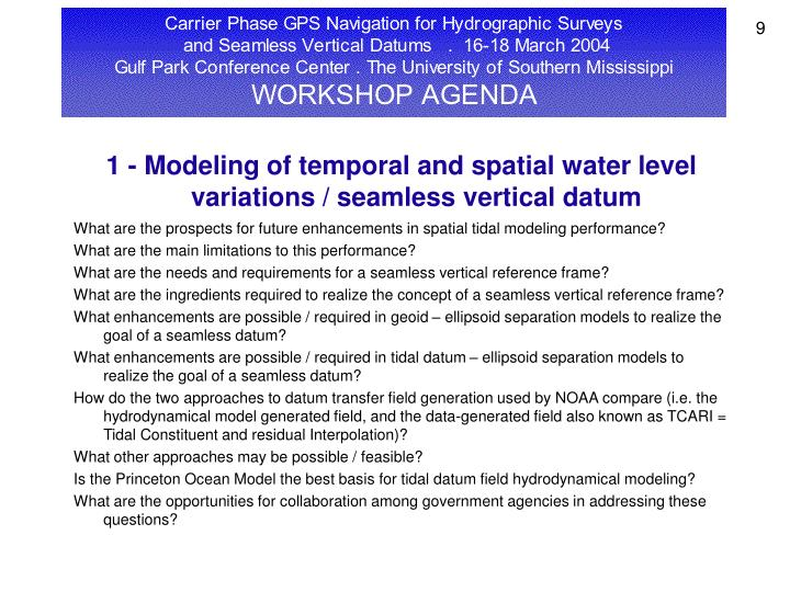 1 - Modeling of temporal and spatial water level variations / seamless vertical datum
