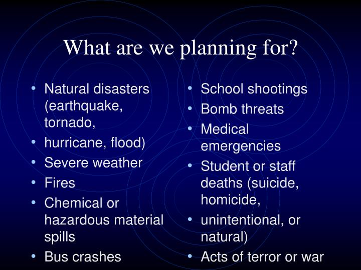 Natural disasters (earthquake, tornado,