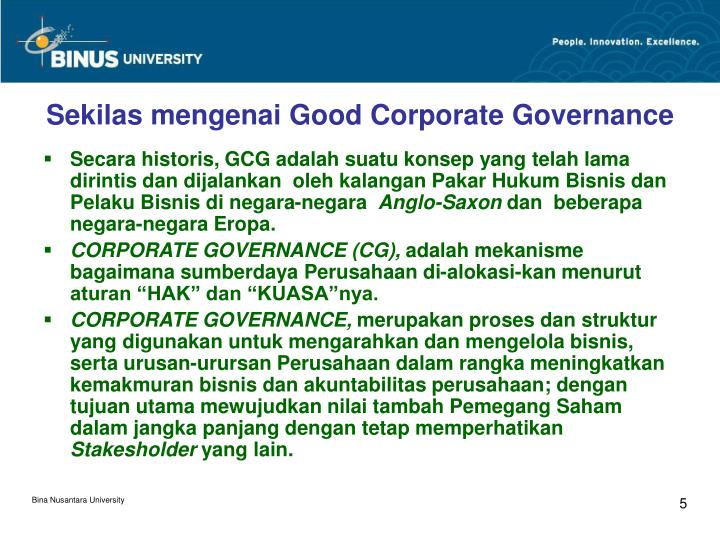 Sekilas mengenai Good Corporate Governance