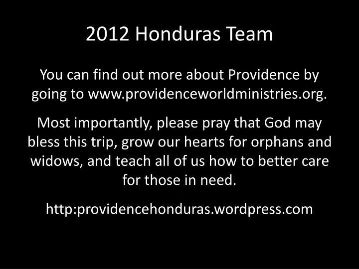 2012 Honduras Team