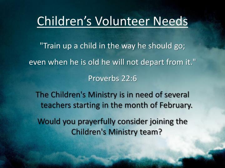 Children's Volunteer Needs