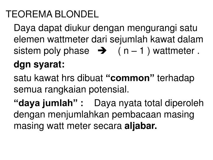 TEOREMA BLONDEL