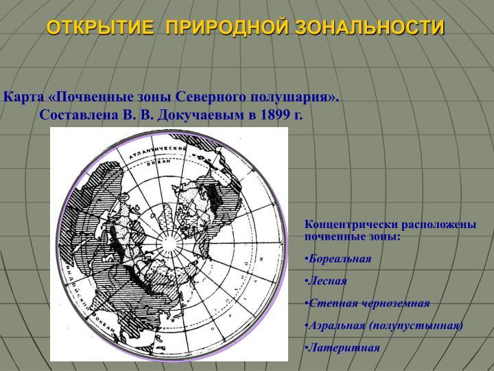 Карта «Почвенные зоны Северного полушария». Составлена В. В. Докучаевым в 1899 г.
