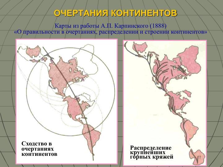 Сходство в              очертаниях континентов