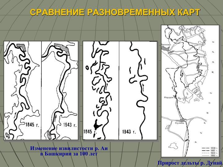 Изменение извилистости р. Аи  в Башкирии за 100 лет