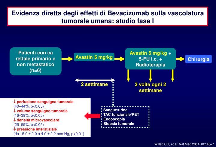 Evidenza diretta degli effetti di Bevacizumab sulla vascolatura tumorale umana: studio fase I