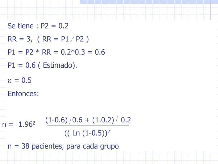 Se tiene : P2 = 0.2