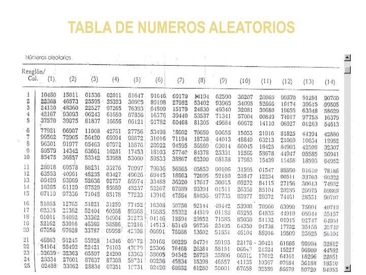 TABLA DE NUMEROS ALEATORIOS