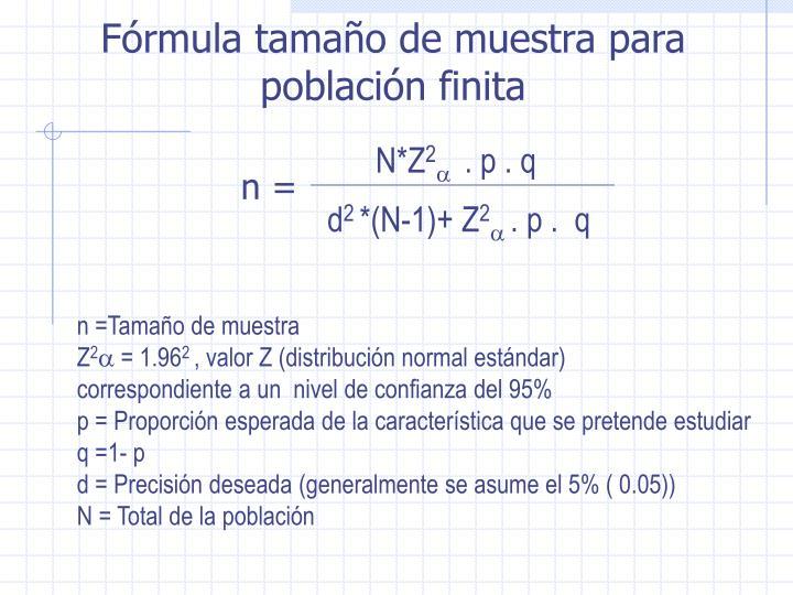 n =Tamaño de muestra
