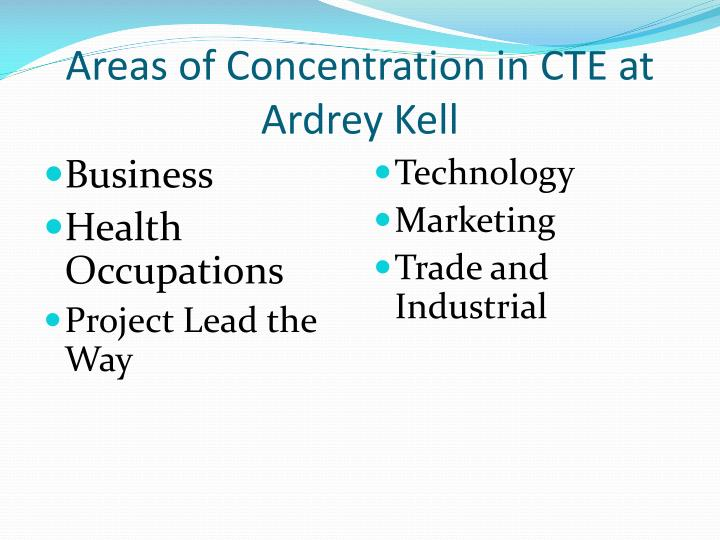 Areas of concentration in cte at ardrey kell