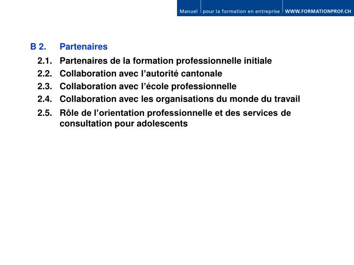 B 2. Partenaires