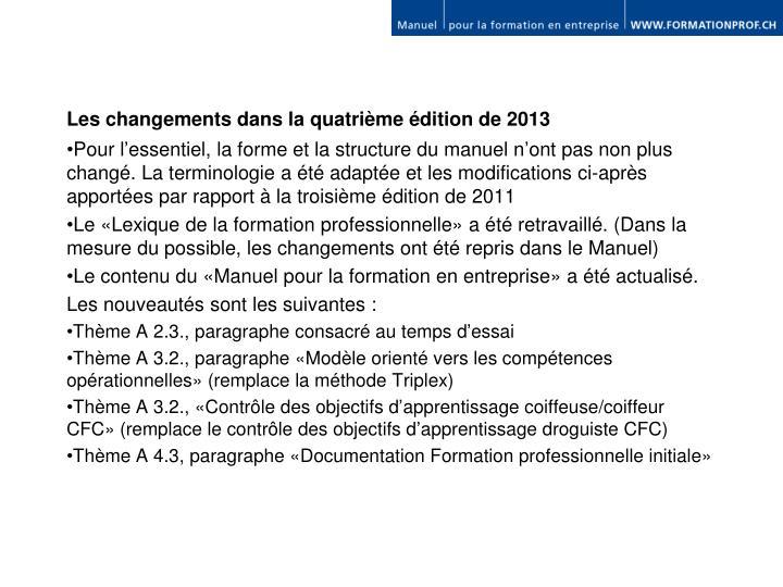 Les changements dans la quatrième édition de 2013