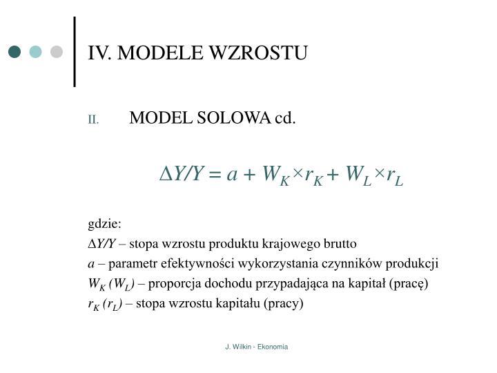 IV. MODELE WZROSTU