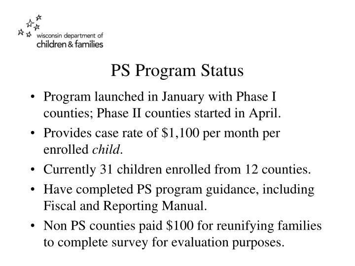 PS Program Status