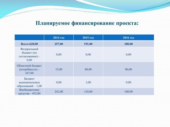 Планируемое финансирование проекта: