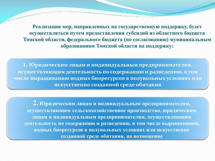 Реализация мер, направленных на государственную поддержку, будет осуществляться путем предоставления субсидий из областного бюджета Томской области, федерального бюджета (по согласованию) муниципальным образованиям Томской области на поддержку:
