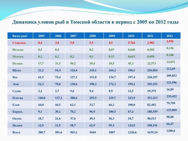 Динамика уловов рыб в Томской области в период с 2005 по 2012 годы