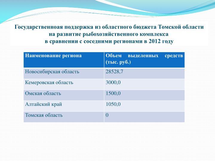 Государственноая поддержка из областного бюджета Томской области