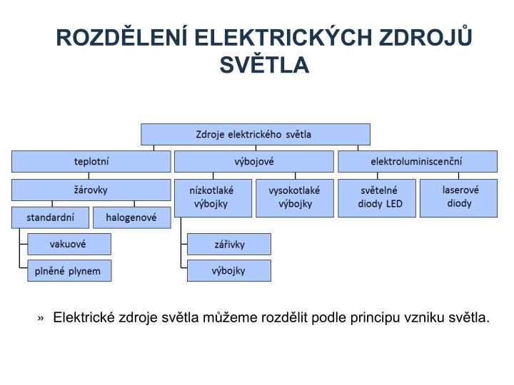 Rozdělení elektrických zdrojů světla