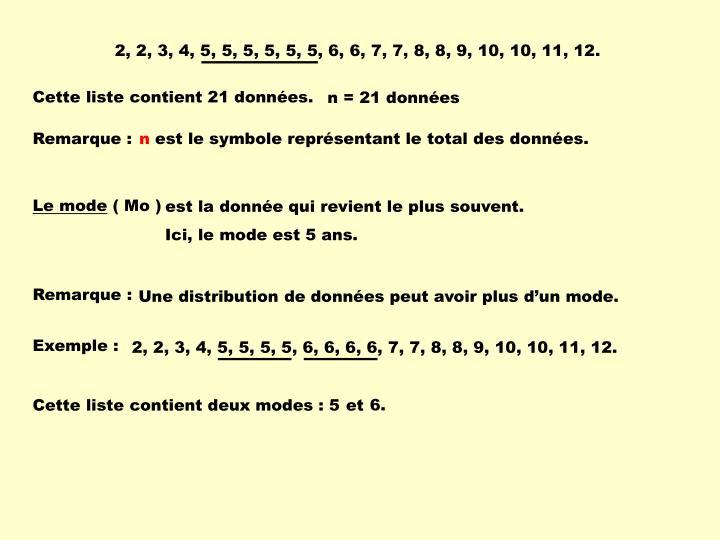 2, 2, 3, 4, 5, 5, 5, 5, 5, 5, 6, 6, 7, 7, 8, 8, 9, 10, 10, 11, 12.
