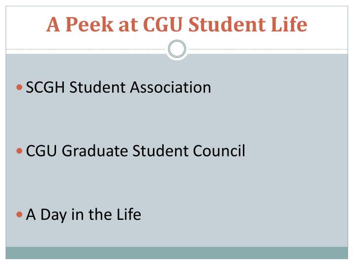 A Peek at CGU Student Life