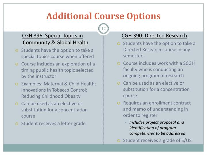 Additional Course Options