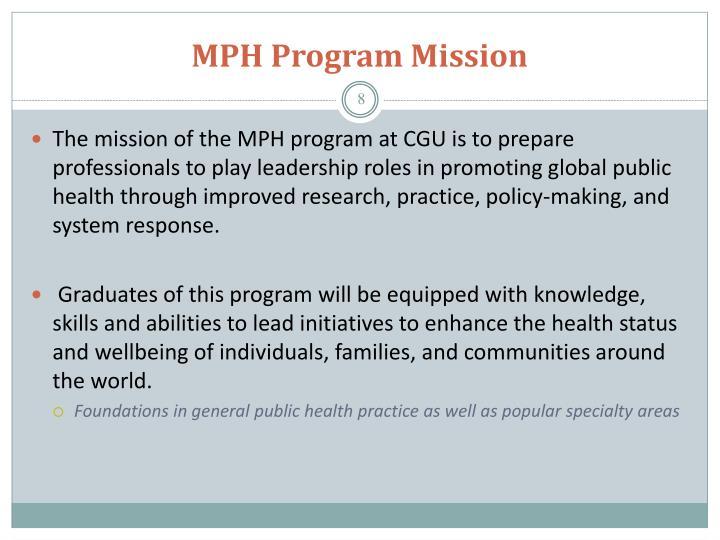 MPH Program Mission