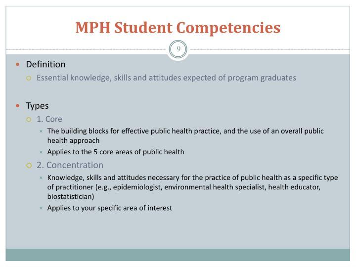 MPH Student Competencies