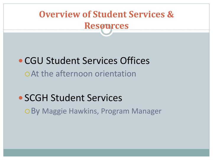 Overview of student services resources