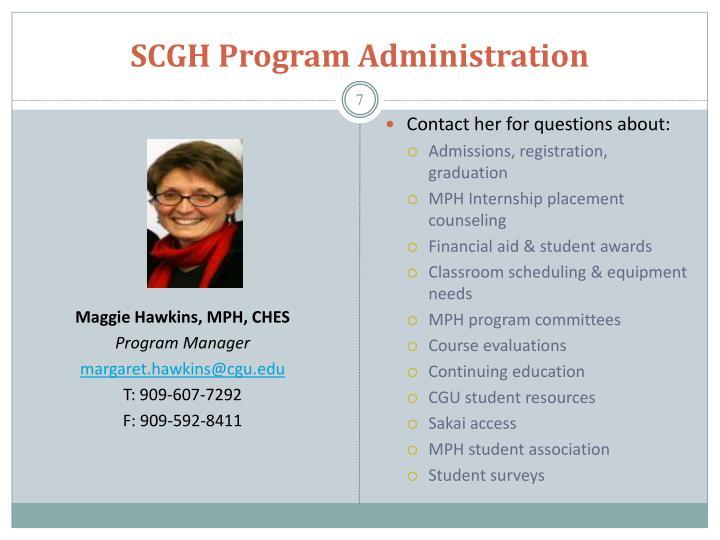 SCGH Program Administration