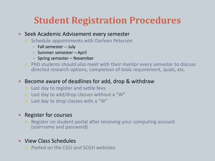 Student Registration Procedures