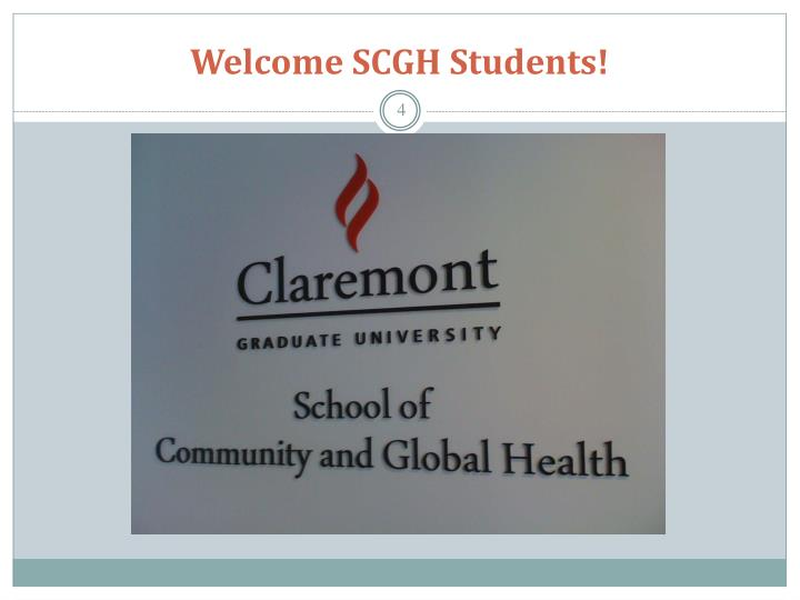 Welcome SCGH Students!