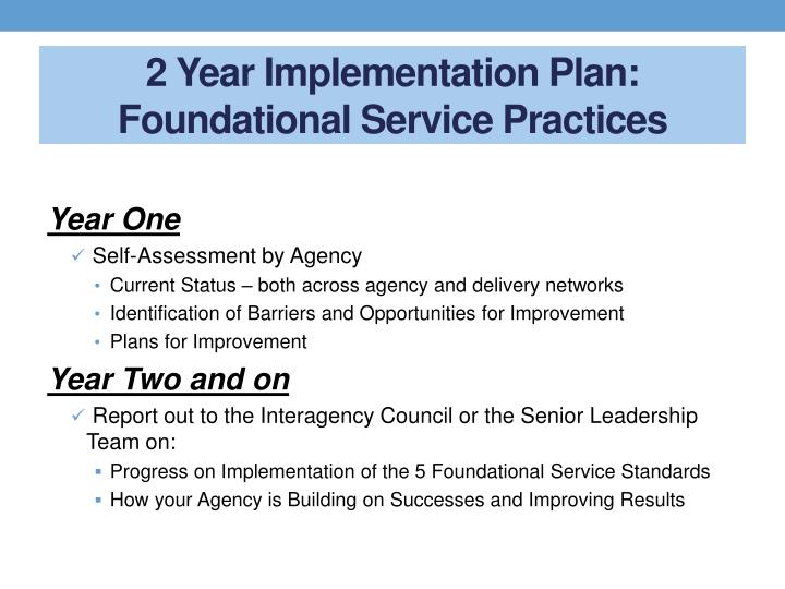 2 Year Implementation Plan: