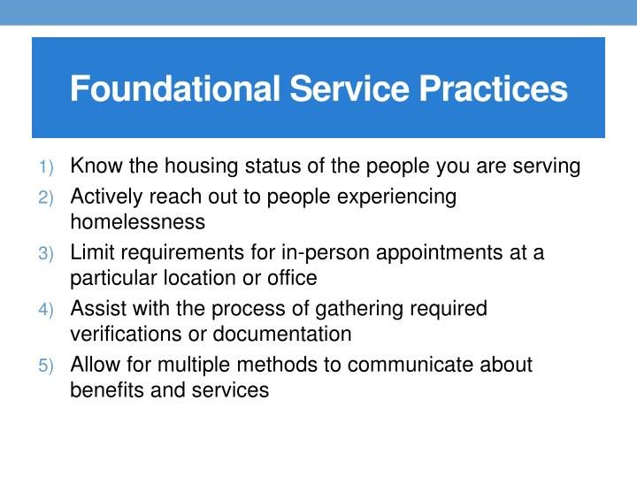 Foundational Service Practices