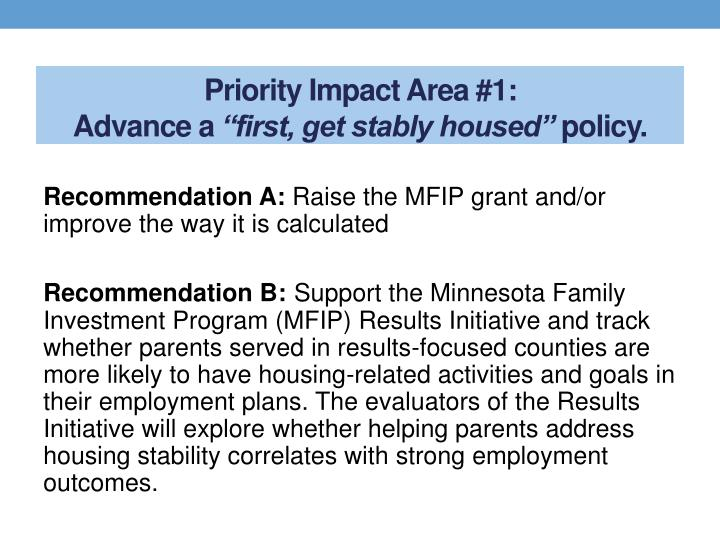 Priority Impact Area #1:
