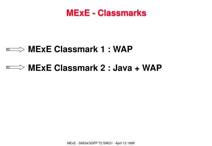 MExE - Classmarks