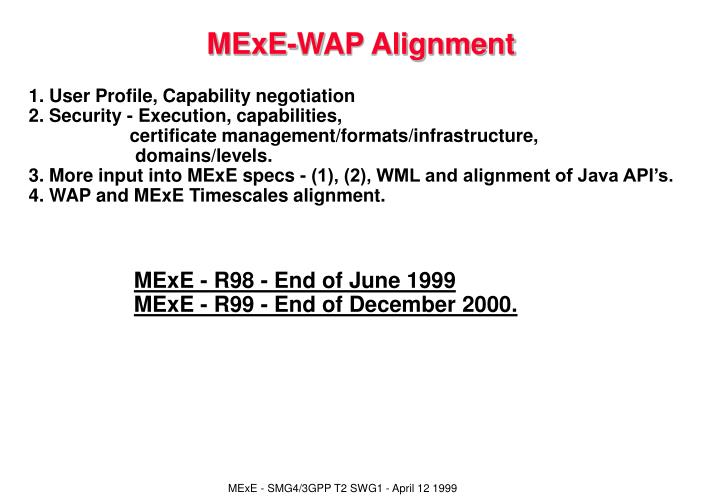 MExE-WAP Alignment